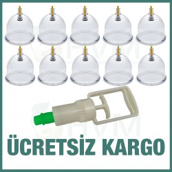 10 Adet 7 cm Hacamat Kupası ve Hacamat Pompası